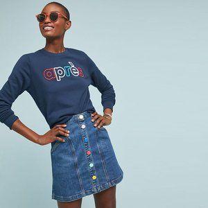 Pilcro Buttondown Denim Skirt - size 2